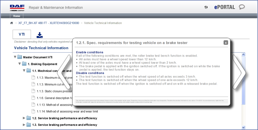 View the vehicle technical information